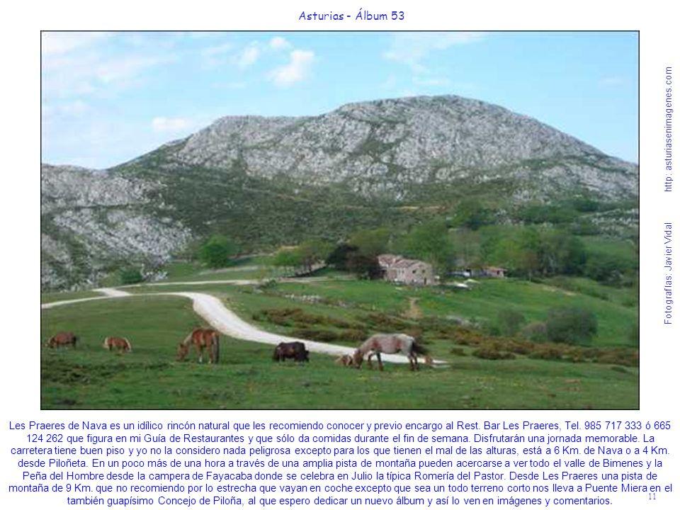 11 Asturias - Álbum 53 Fotografías: Javier Vidal http: asturiasenimagenes.com Les Praeres de Nava es un idílico rincón natural que les recomiendo conocer y previo encargo al Rest.