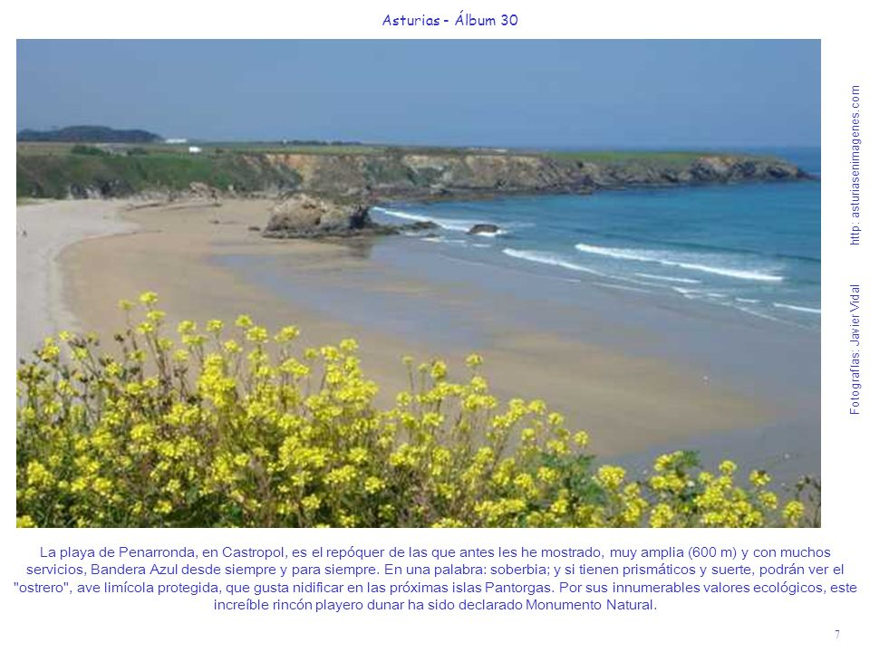 7 Asturias - Álbum 30 Fotografías: Javier Vidal http: asturiasenimagenes.com La playa de Penarronda, en Castropol, es el repóquer de las que antes les