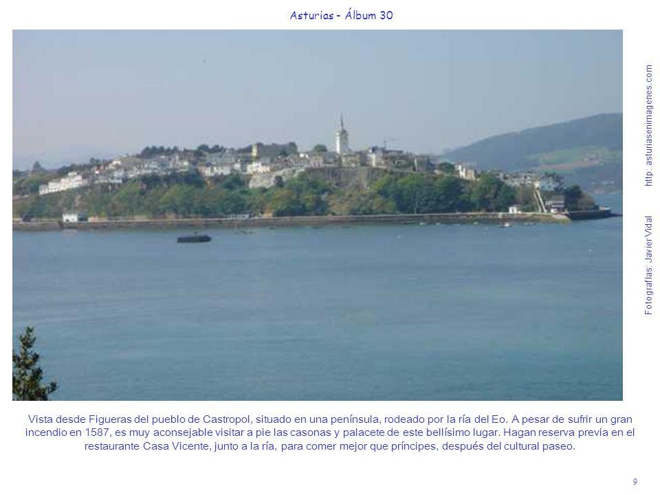9 Asturias - Álbum 30 Fotografías: Javier Vidal http: asturiasenimagenes.com Vista desde Figueras del pueblo de Castropol, situado en una península, r
