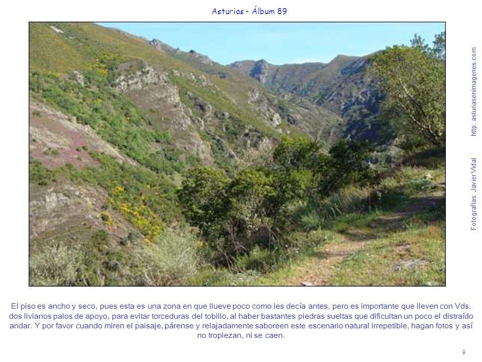 9 Asturias - Álbum 89 Fotografías: Javier Vidal http: asturiasenimagenes.com El piso es ancho y seco, pues esta es una zona en que llueve poco como les decía antes, pero es importante que lleven con Vds.