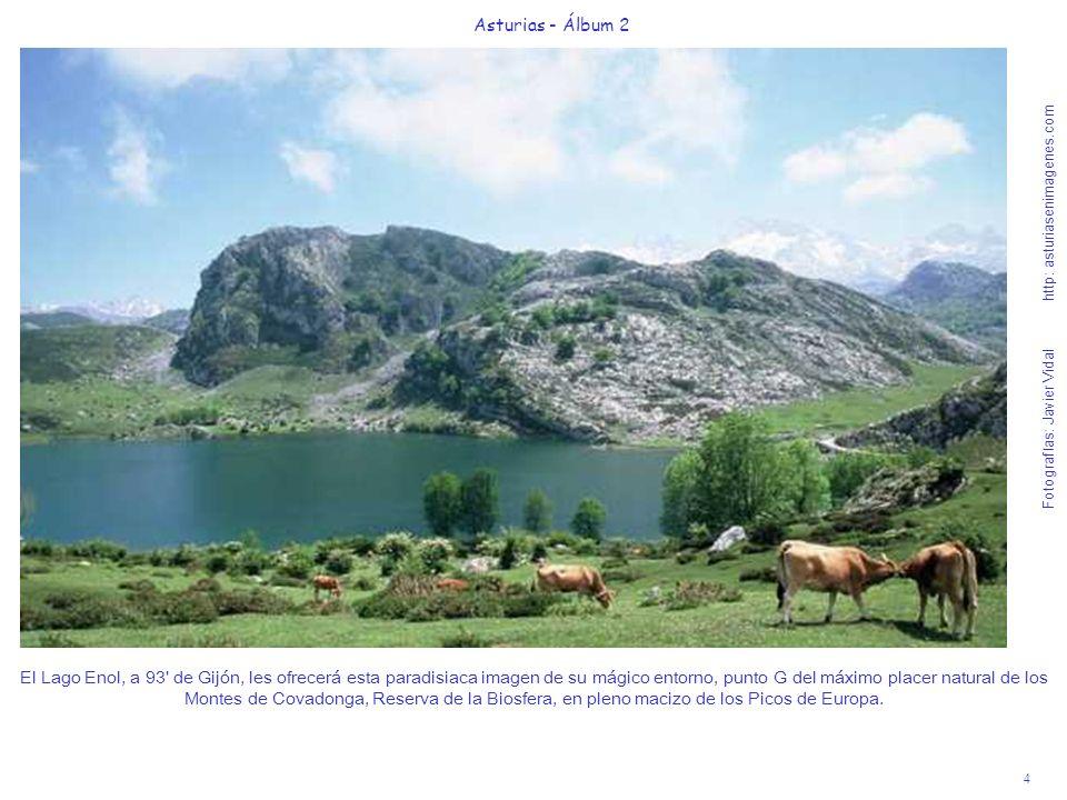 4 Asturias - Álbum 2 Fotografías: Javier Vidal http: asturiasenimagenes.com El Lago Enol, a 93' de Gijón, les ofrecerá esta paradisiaca imagen de su m