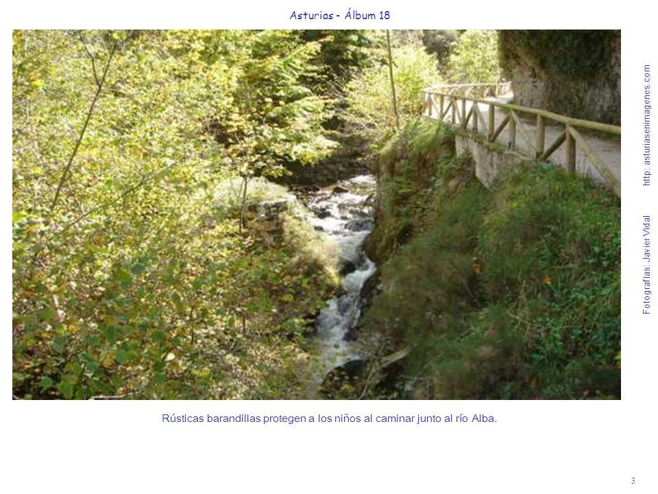 3 Asturias - Álbum 18 Fotografías: Javier Vidal http: asturiasenimagenes.com Rústicas barandillas protegen a los niños al caminar junto al río Alba.