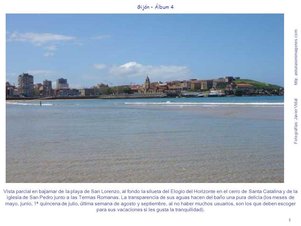 8 Gijón - Álbum 4 Fotografías: Javier Vidal http: asturiasenimagenes.com Vista parcial en bajamar de la playa de San Lorenzo, al fondo la silueta del