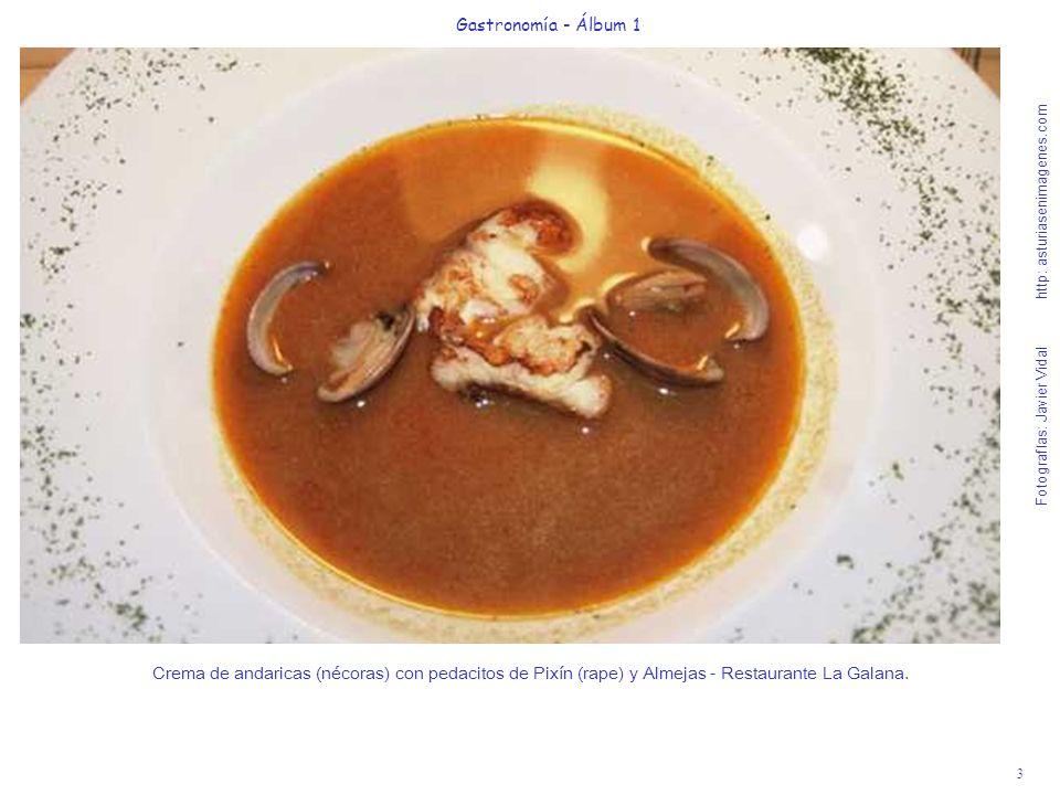 3 Gastronomía - Álbum 1 Fotografías: Javier Vidal http: asturiasenimagenes.com Crema de andaricas (nécoras) con pedacitos de Pixín (rape) y Almejas -