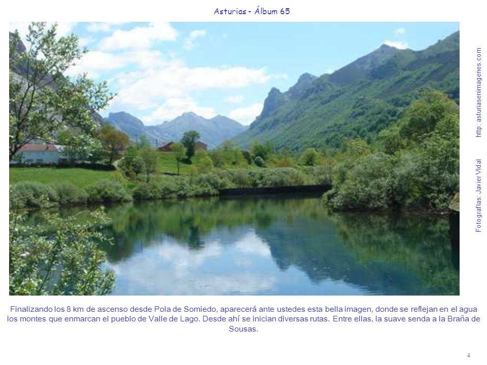 5 Asturias - Álbum 65 Fotografías: Javier Vidal http: asturiasenimagenes.com Poco antes de llegar al pueblo de Valle de Lago descubrimos a la derecha y al fondo, los picos que rodean la Braña de Sousas.