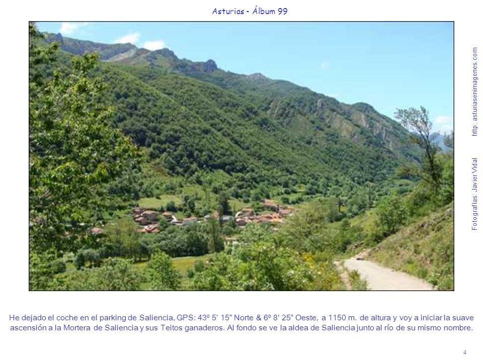4 Asturias - Álbum 99 Fotografías: Javier Vidal http: asturiasenimagenes.com He dejado el coche en el parking de Saliencia, GPS: 43º 5 15 Norte & 6º 8