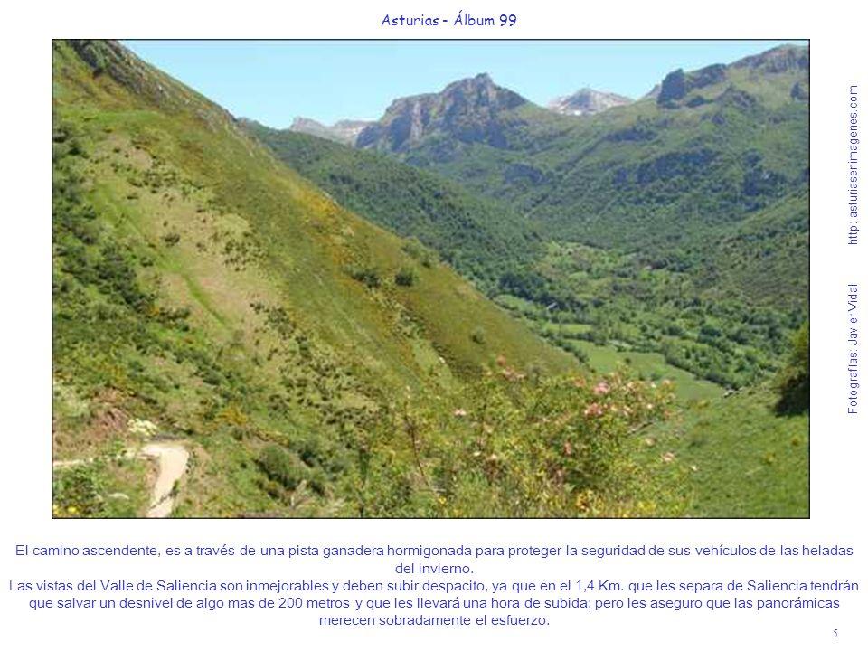 5 Asturias - Álbum 99 Fotografías: Javier Vidal http: asturiasenimagenes.com El camino ascendente, es a través de una pista ganadera hormigonada para