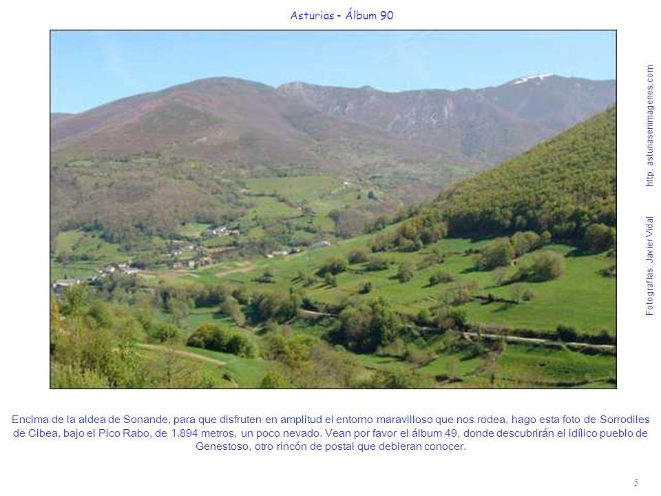 5 Asturias - Álbum 90 Fotografías: Javier Vidal http: asturiasenimagenes.com Encima de la aldea de Sonande, para que disfruten en amplitud el entorno maravilloso que nos rodea, hago esta foto de Sorrodiles de Cibea, bajo el Pico Rabo, de 1.894 metros, un poco nevado.