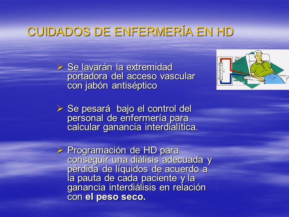 CUIDADOS DE ENFERMERÍA EN HD PESO SECO: peso corporal por debajo del cual aparece hipotensión u otros síntomas como calambres, estimulación vagal etc.
