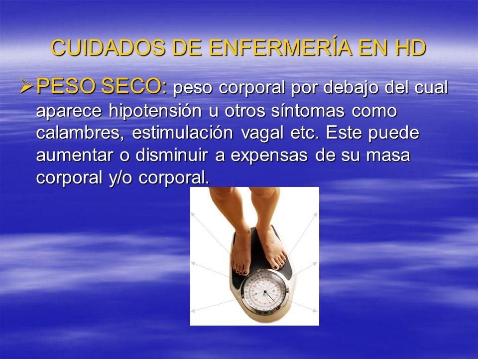 CUIDADOS DE ENFERMERÍA EN HD Se calcula cantidad total de peso que debe perder, teniendo en cuenta los aportes de líquidos durante la diálisis.