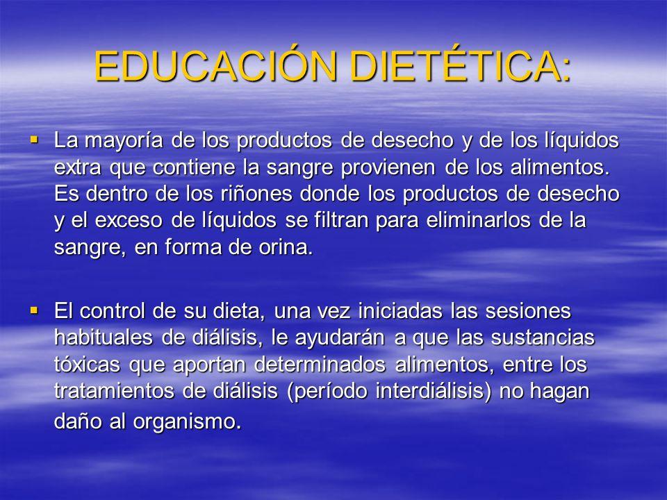 EDUCACIÓN DIETÉTICA Es aconsejable darle normas dietéticas generales que incluyan alimentos permitidos y desaconsejados y pequeños trucos para que le sea más llevadera.