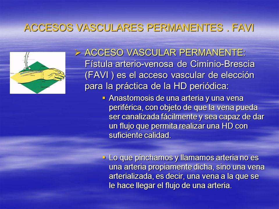 ACCESOS VASCULARES PERMANENTES FAVI Cuando se prevee la necesidad de una FAVI deben evitarse venopunciones en el miembro superior no dominante.