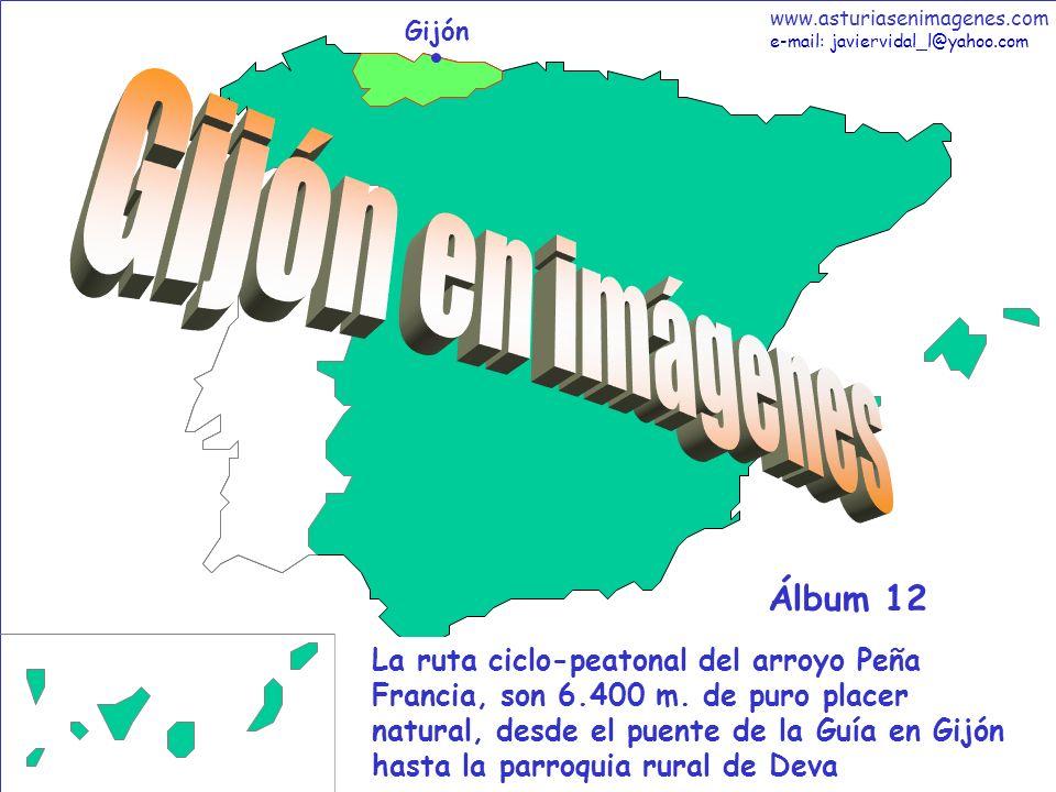 1 Gijón - Álbum 12 Gijón La ruta ciclo-peatonal del arroyo Peña Francia, son 6.400 m. de puro placer natural, desde el puente de la Guía en Gijón hast