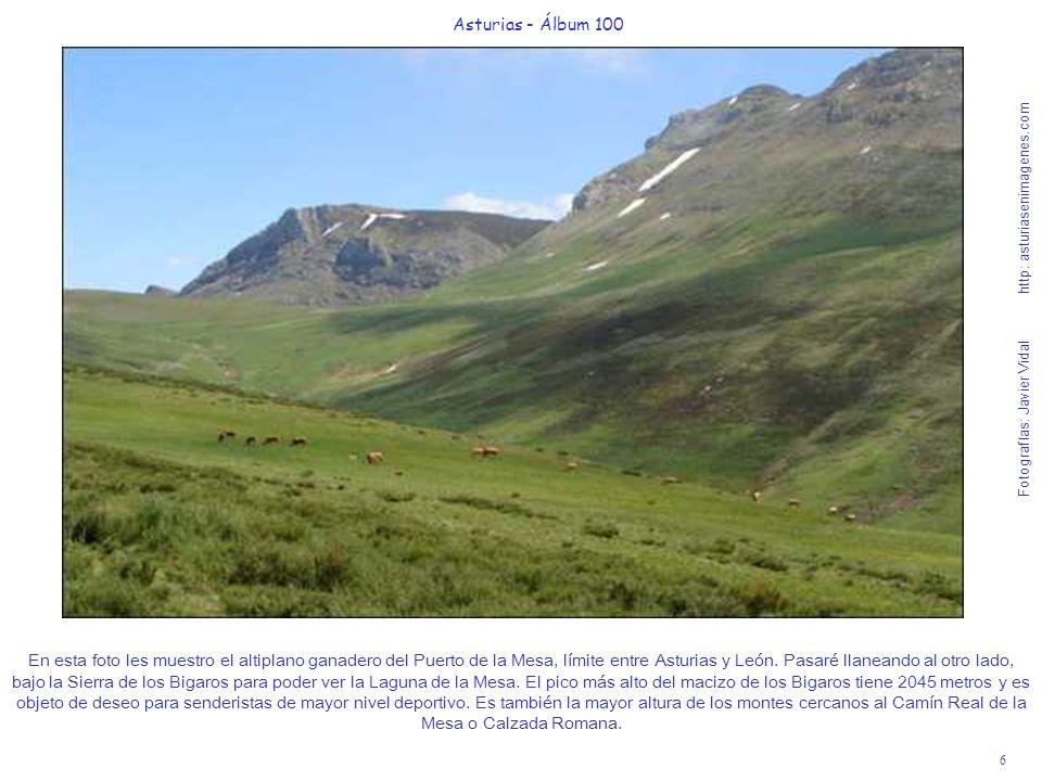 6 Asturias - Álbum 100 Fotografías: Javier Vidal http: asturiasenimagenes.com En esta foto les muestro el altiplano ganadero del Puerto de la Mesa, lí