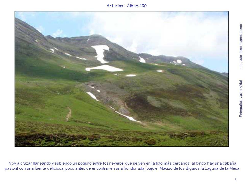 9 Asturias - Álbum 100 Fotografías: Javier Vidal http: asturiasenimagenes.com Vista retrospectiva del Puerto de la Mesa y al fondo las pétreas crestas del Macizo de las Ubiñas.