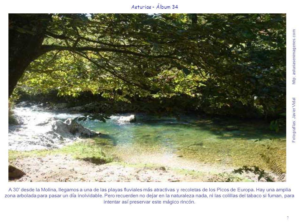 7 Asturias - Álbum 34 Fotografías: Javier Vidal http: asturiasenimagenes.com A 30 desde la Molina, llegamos a una de las playas fluviales más atractivas y recoletas de los Picos de Europa.