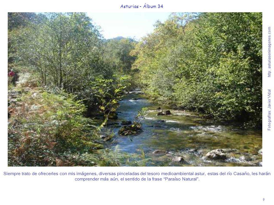 9 Asturias - Álbum 34 Fotografías: Javier Vidal http: asturiasenimagenes.com Siempre trato de ofrecerles con mis imágenes, diversas pinceladas del tesoro medioambiental astur, estas del río Casaño, les harán comprender más aún, el sentido de la frase Paraíso Natural.