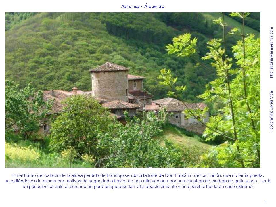 4 Asturias - Álbum 32 Fotografías: Javier Vidal http: asturiasenimagenes.com En el barrio del palacio de la aldea perdida de Bandujo se ubica la torre