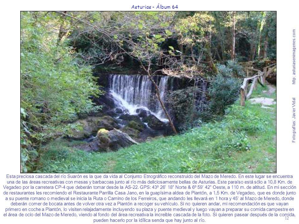 12 Asturias - Álbum 64 Fotografías: Javier Vidal http: asturiasenimagenes.com Esta preciosa cascada del río Suarón es la que da vida al Conjunto Etnog