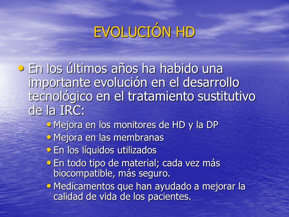 EVOLUCIÓN HD En los últimos años ha habido una importante evolución en el desarrollo tecnológico en el tratamiento sustitutivo de la IRC: En los últim