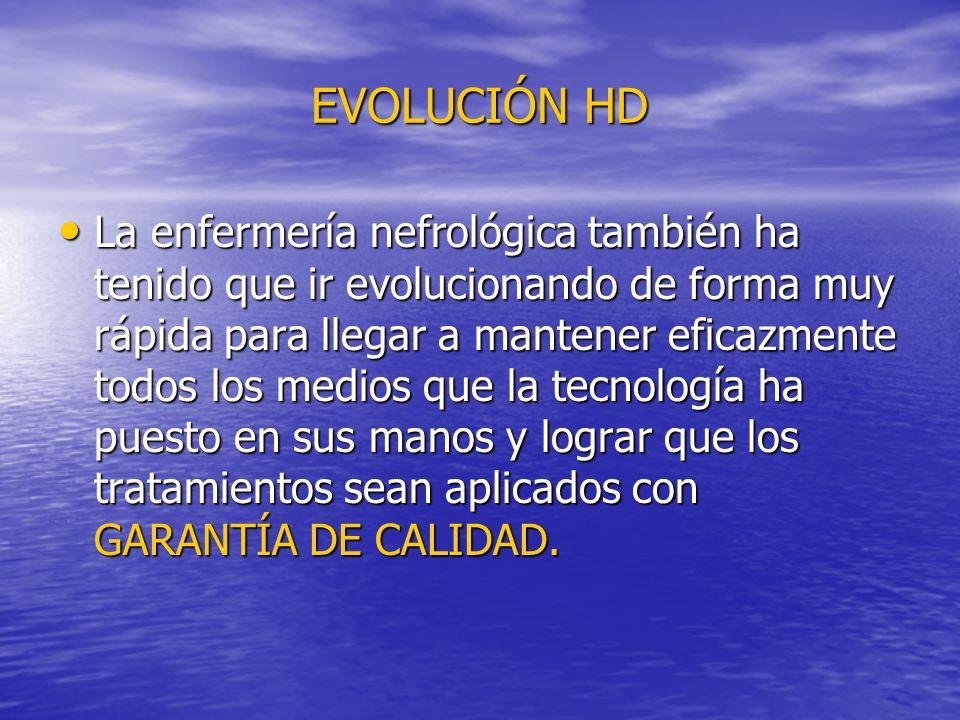 EVOLUCIÓN HD La enfermería nefrológica también ha tenido que ir evolucionando de forma muy rápida para llegar a mantener eficazmente todos los medios