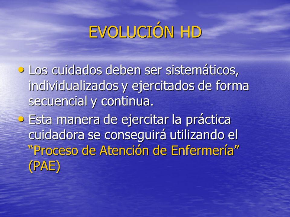 EVOLUCIÓN HD Los cuidados deben ser sistemáticos, individualizados y ejercitados de forma secuencial y continua. Los cuidados deben ser sistemáticos,