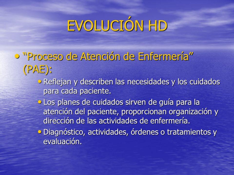 EVOLUCIÓN HD Proceso de Atención de Enfermería (PAE): Proceso de Atención de Enfermería (PAE): Reflejan y describen las necesidades y los cuidados par
