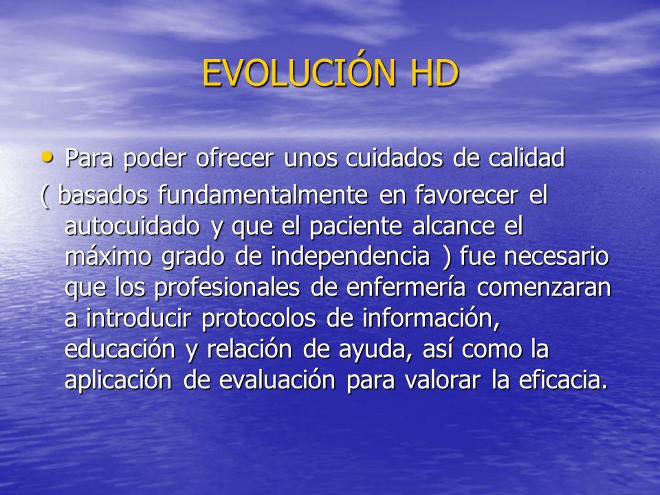 EVOLUCIÓN HD Para poder ofrecer unos cuidados de calidad Para poder ofrecer unos cuidados de calidad ( basados fundamentalmente en favorecer el autocu