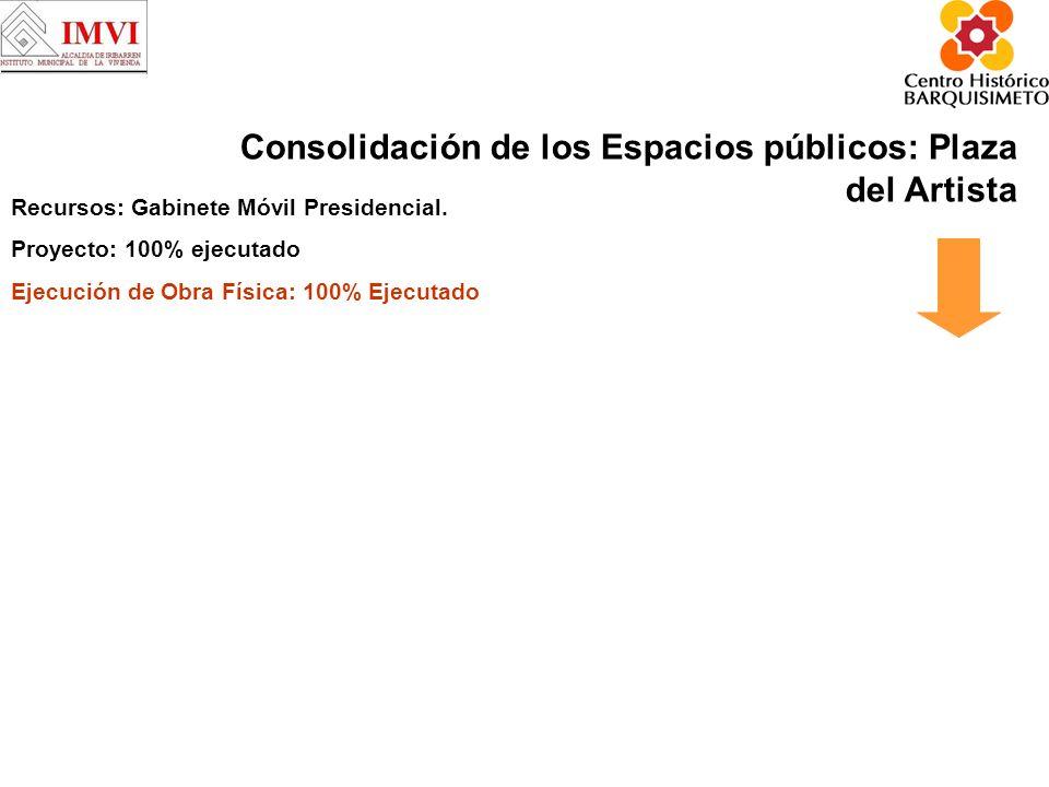Consolidación de los Espacios públicos: Plaza del Artista Recursos: Gabinete Móvil Presidencial.