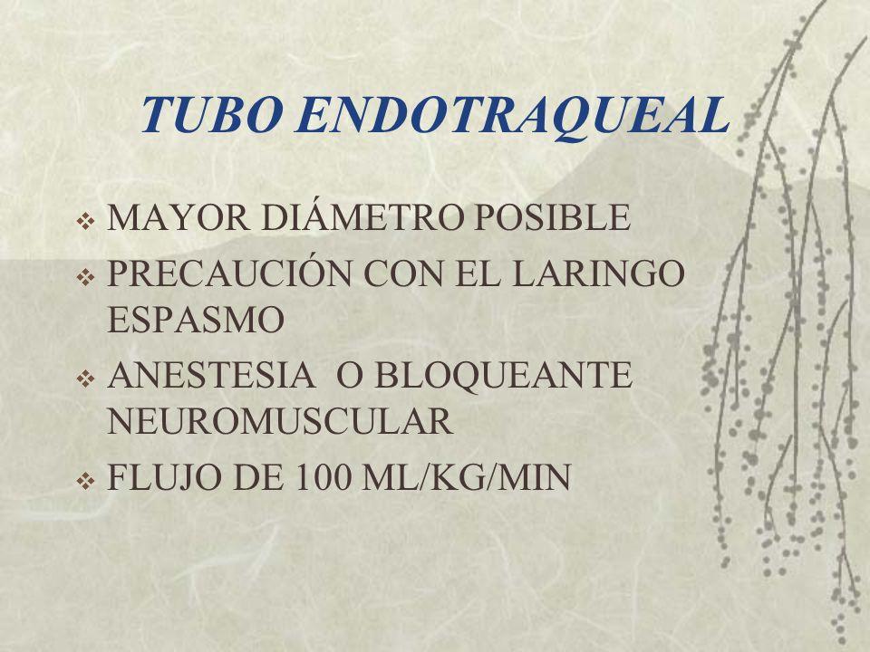 TUBO ENDOTRAQUEAL MAYOR DIÁMETRO POSIBLE PRECAUCIÓN CON EL LARINGO ESPASMO ANESTESIA O BLOQUEANTE NEUROMUSCULAR FLUJO DE 100 ML/KG/MIN