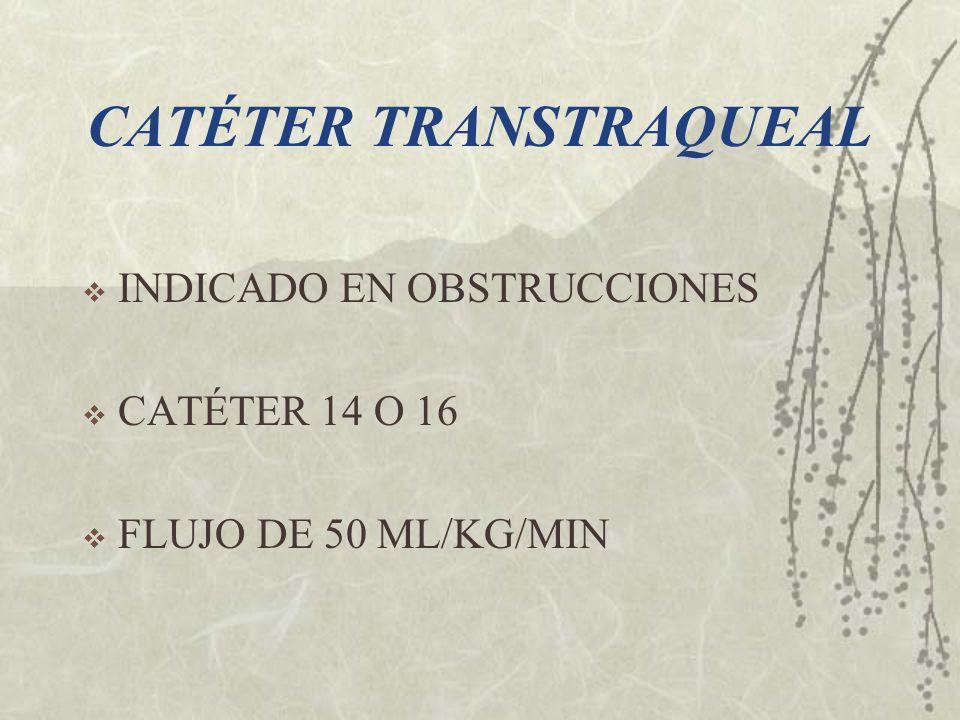 CATÉTER TRANSTRAQUEAL INDICADO EN OBSTRUCCIONES CATÉTER 14 O 16 FLUJO DE 50 ML/KG/MIN
