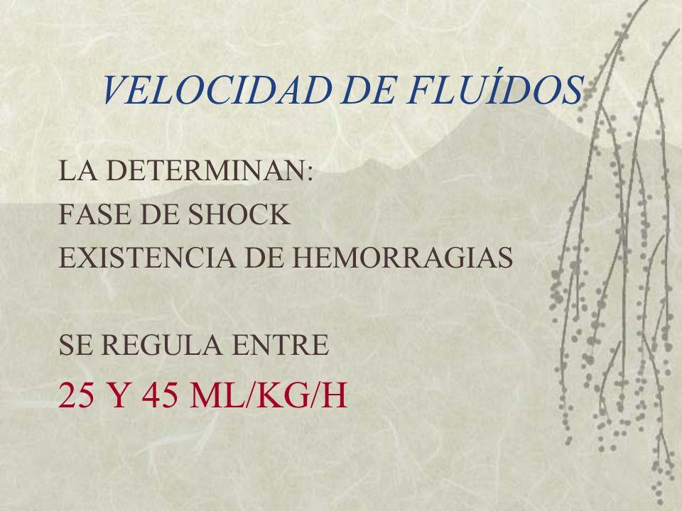 VELOCIDAD DE FLUÍDOS LA DETERMINAN: FASE DE SHOCK EXISTENCIA DE HEMORRAGIAS SE REGULA ENTRE 25 Y 45 ML/KG/H