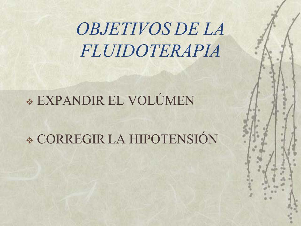 OBJETIVOS DE LA FLUIDOTERAPIA EXPANDIR EL VOLÚMEN CORREGIR LA HIPOTENSIÓN