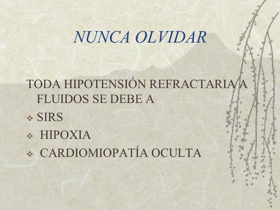 NUNCA OLVIDAR TODA HIPOTENSIÓN REFRACTARIA A FLUIDOS SE DEBE A SIRS HIPOXIA CARDIOMIOPATÍA OCULTA