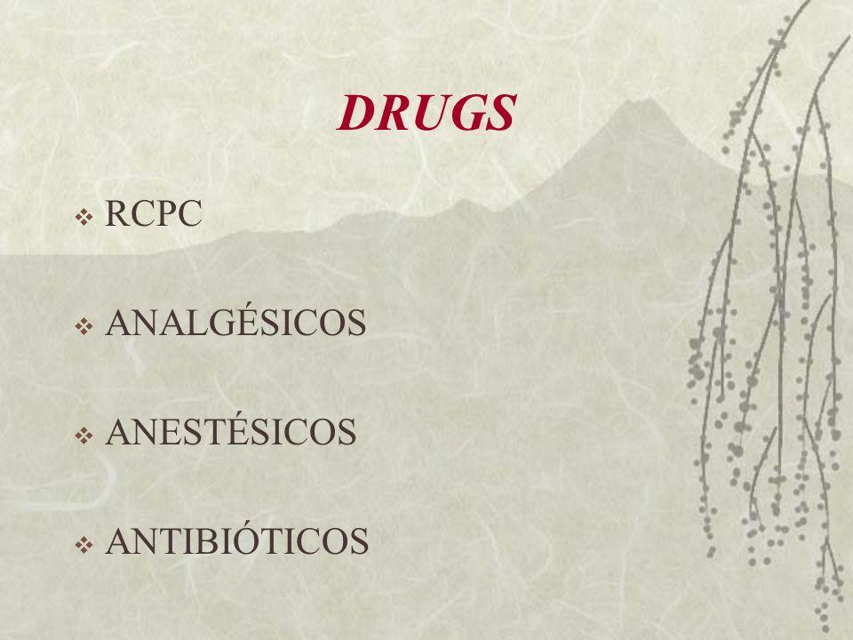 DRUGS RCPC ANALGÉSICOS ANESTÉSICOS ANTIBIÓTICOS