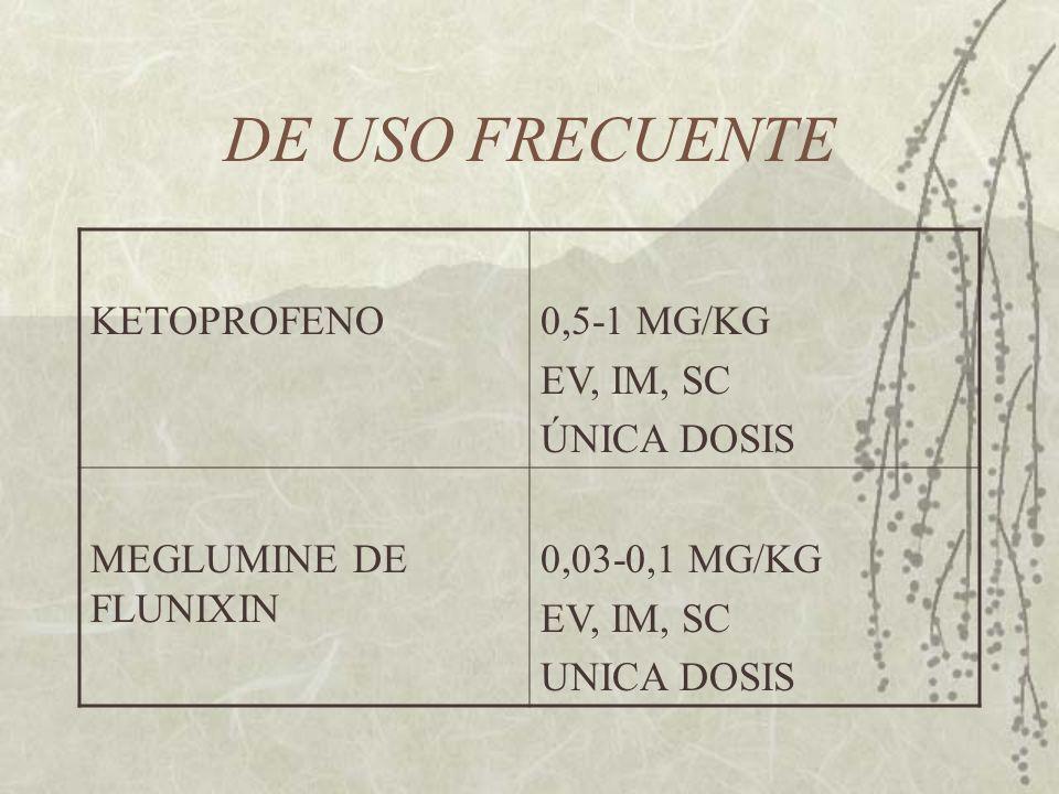 DE USO FRECUENTE KETOPROFENO0,5-1 MG/KG EV, IM, SC ÚNICA DOSIS MEGLUMINE DE FLUNIXIN 0,03-0,1 MG/KG EV, IM, SC UNICA DOSIS