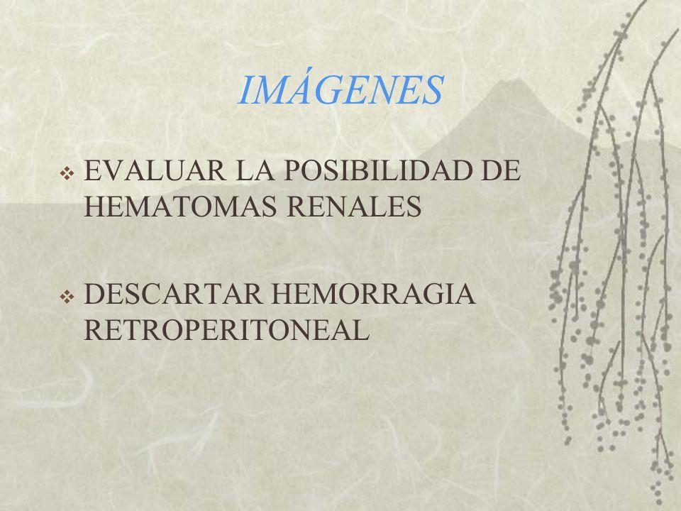 IMÁGENES EVALUAR LA POSIBILIDAD DE HEMATOMAS RENALES DESCARTAR HEMORRAGIA RETROPERITONEAL