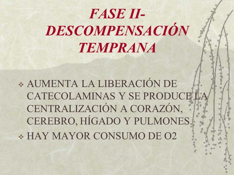 FASE II- DESCOMPENSACIÓN TEMPRANA AUMENTA LA LIBERACIÓN DE CATECOLAMINAS Y SE PRODUCE LA CENTRALIZACIÓN A CORAZÓN, CEREBRO, HÍGADO Y PULMONES. HAY MAY