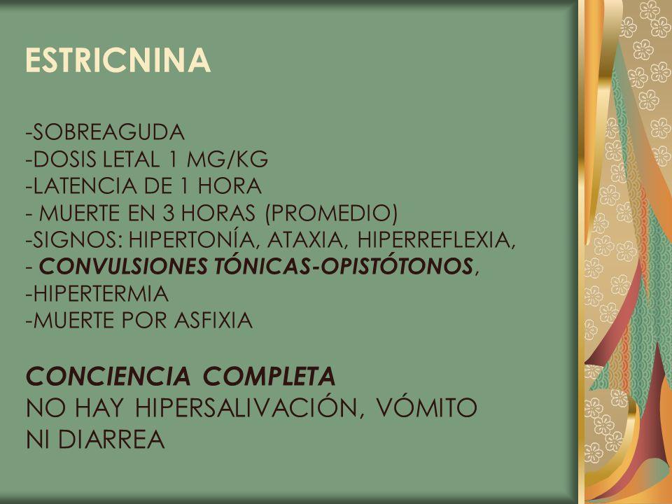 ESTRICNINA -SOBREAGUDA -DOSIS LETAL 1 MG/KG -LATENCIA DE 1 HORA - MUERTE EN 3 HORAS (PROMEDIO) -SIGNOS: HIPERTONÍA, ATAXIA, HIPERREFLEXIA, - CONVULSIO