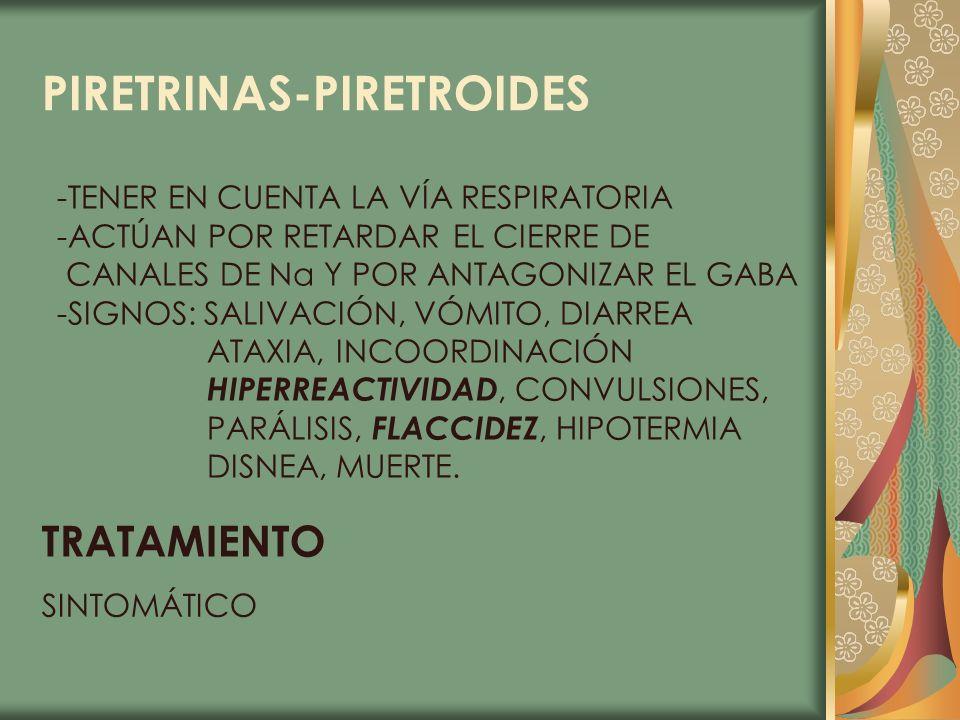 PIRETRINAS-PIRETROIDES -TENER EN CUENTA LA VÍA RESPIRATORIA -ACTÚAN POR RETARDAR EL CIERRE DE CANALES DE Na Y POR ANTAGONIZAR EL GABA -SIGNOS: SALIVAC
