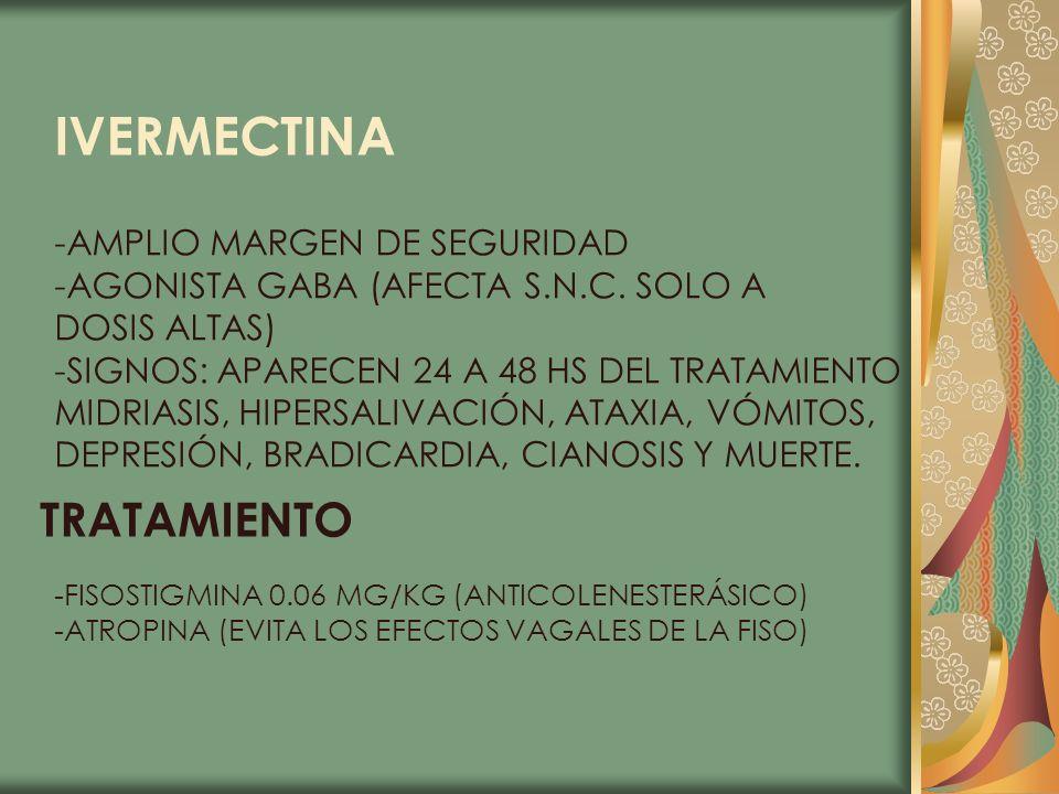 IVERMECTINA -AMPLIO MARGEN DE SEGURIDAD -AGONISTA GABA (AFECTA S.N.C. SOLO A DOSIS ALTAS) -SIGNOS: APARECEN 24 A 48 HS DEL TRATAMIENTO MIDRIASIS, HIPE