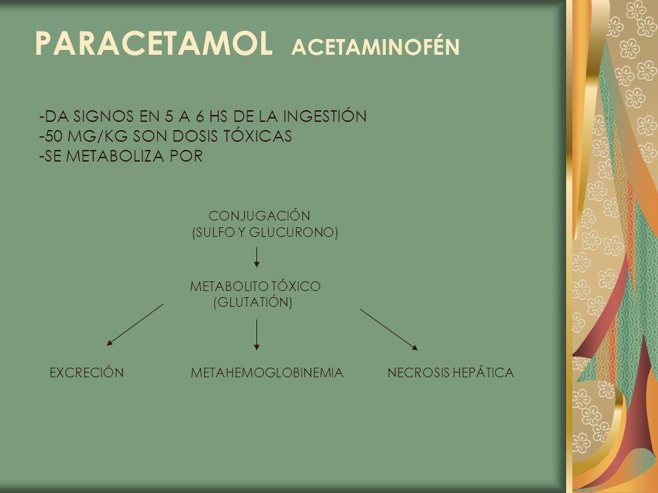 PARACETAMOL ACETAMINOFÉN -DA SIGNOS EN 5 A 6 HS DE LA INGESTIÓN -50 MG/KG SON DOSIS TÓXICAS -SE METABOLIZA POR CONJUGACIÓN (SULFO Y GLUCURONO) METABOL