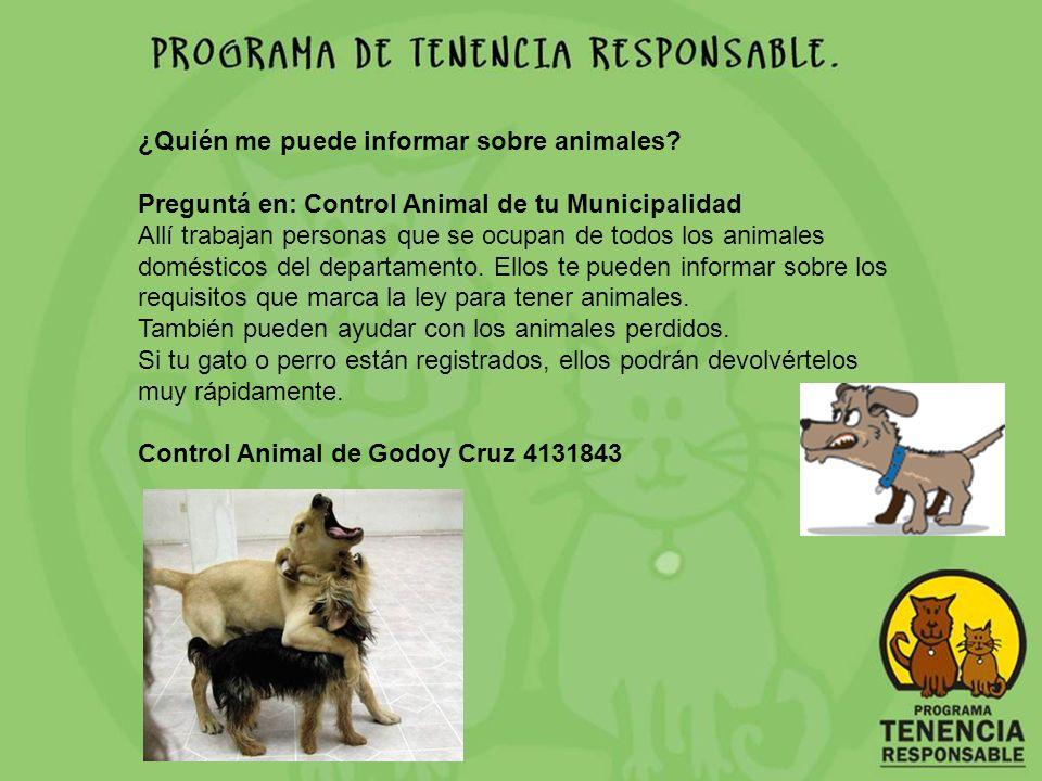 ¿Quién me puede informar sobre animales? Preguntá en: Control Animal de tu Municipalidad Allí trabajan personas que se ocupan de todos los animales do