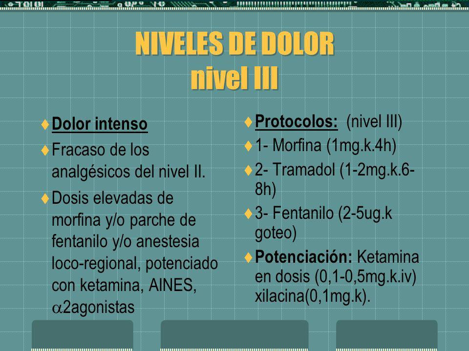 NIVELES DE DOLOR nivel III Dolor intenso Fracaso de los analgésicos del nivel II. Dosis elevadas de morfina y/o parche de fentanilo y/o anestesia loco