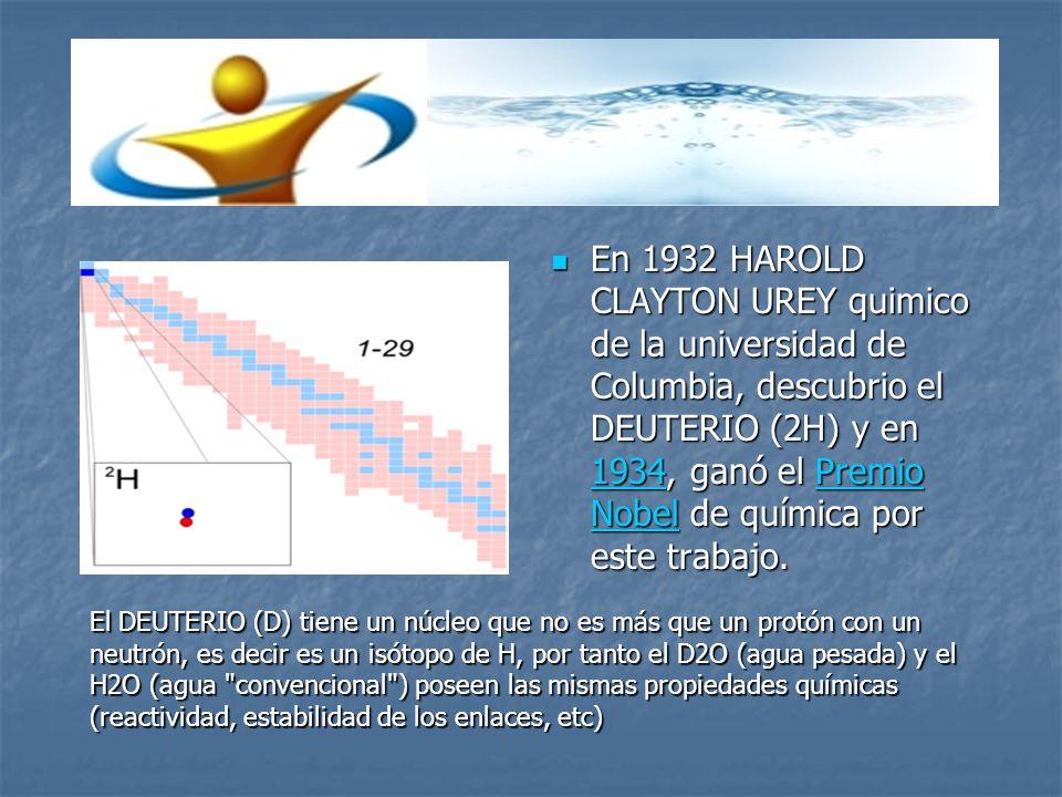 En 1932 HAROLD CLAYTON UREY quimico de la universidad de Columbia, descubrio el DEUTERIO (2H) y en 1934, ganó el Premio Nobel de química por este trab