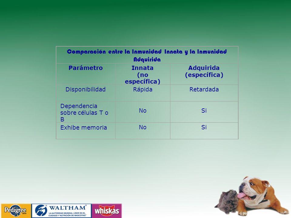 Comparación entre la Inmunidad Innata y la Inmunidad Adquirida ParámetroInnata (no específica) Adquirida (específica) DisponibilidadRápidaRetardada Dependencia sobre células T o B No Si Exhibe memoriaNoSi