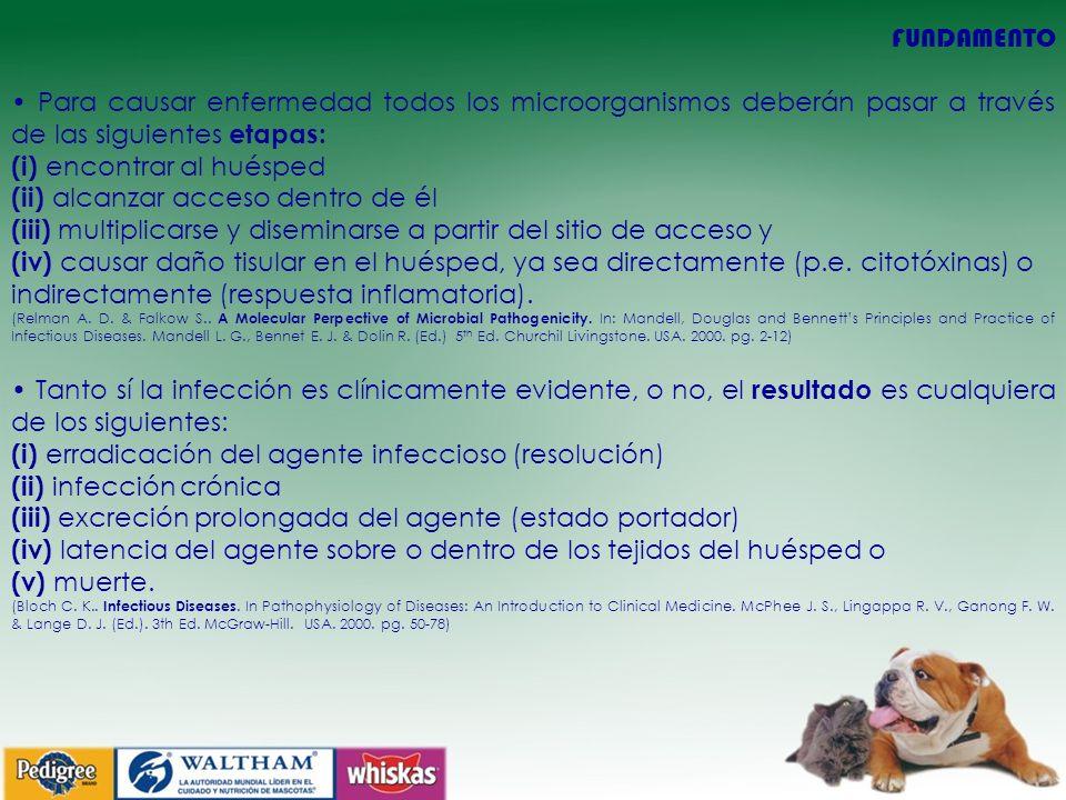 FUNDAMENTO Para causar enfermedad todos los microorganismos deberán pasar a través de las siguientes etapas: (i) encontrar al huésped (ii) alcanzar ac