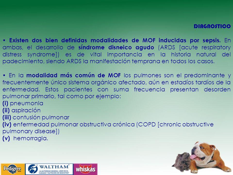 DIAGNOSTICO Existen dos bien definidas modalidades de MOF inducidas por sepsis. En ambas, el desarrollo de síndrome disneico agudo (ARDS [acute respir