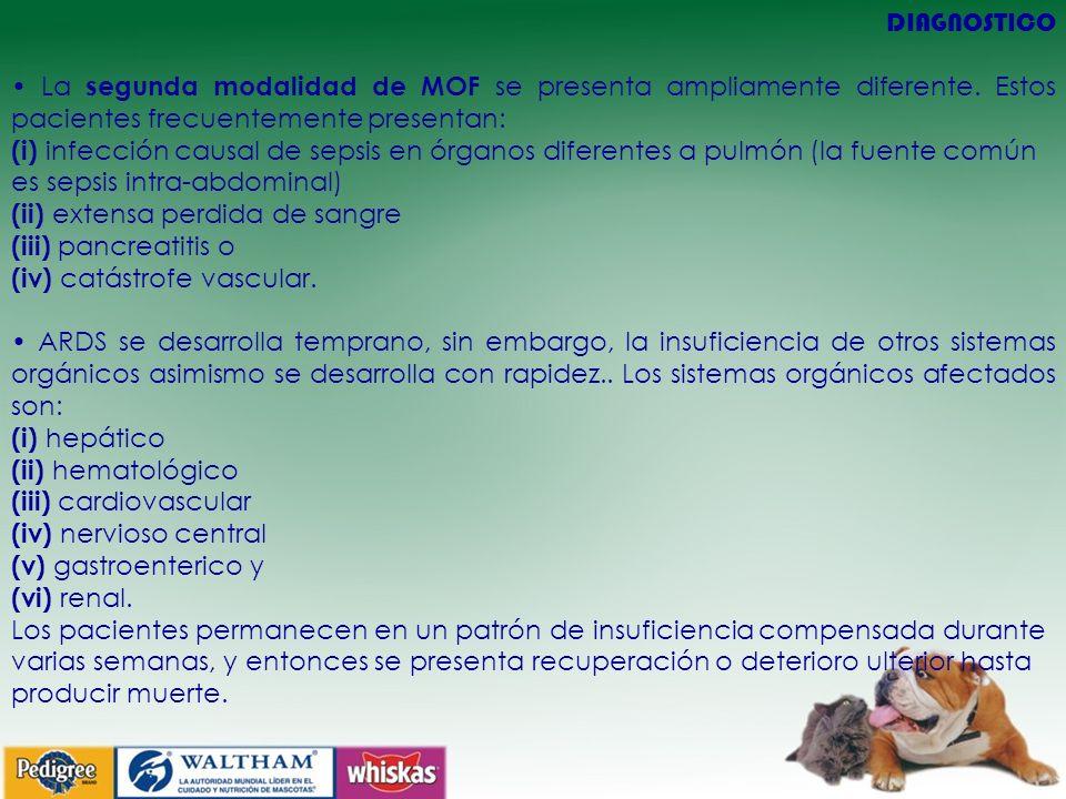 DIAGNOSTICO La segunda modalidad de MOF se presenta ampliamente diferente. Estos pacientes frecuentemente presentan: (i) infección causal de sepsis en