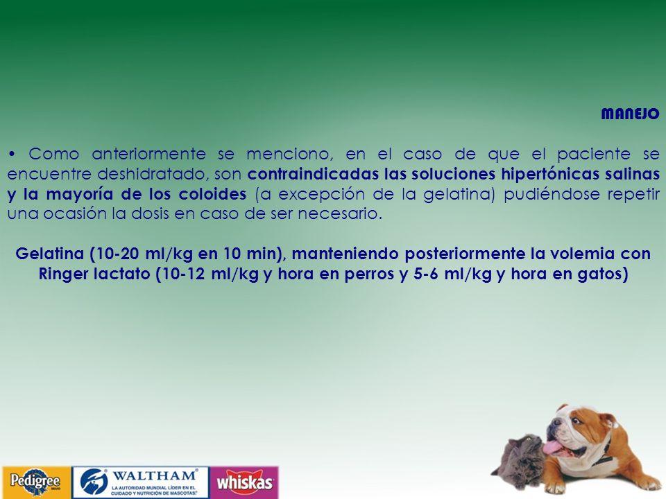 MANEJO Como anteriormente se menciono, en el caso de que el paciente se encuentre deshidratado, son contraindicadas las soluciones hipertónicas salinas y la mayoría de los coloides (a excepción de la gelatina) pudiéndose repetir una ocasión la dosis en caso de ser necesario.